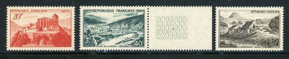 FRANCE MNH : Scott #630-632 Scenic Views (1949) CV$14+