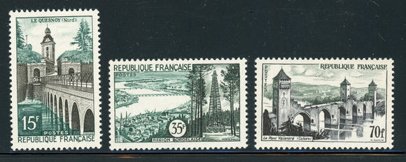 FRANCE MNH : Scott #837-839 Scenic Views (1957) CV$19+