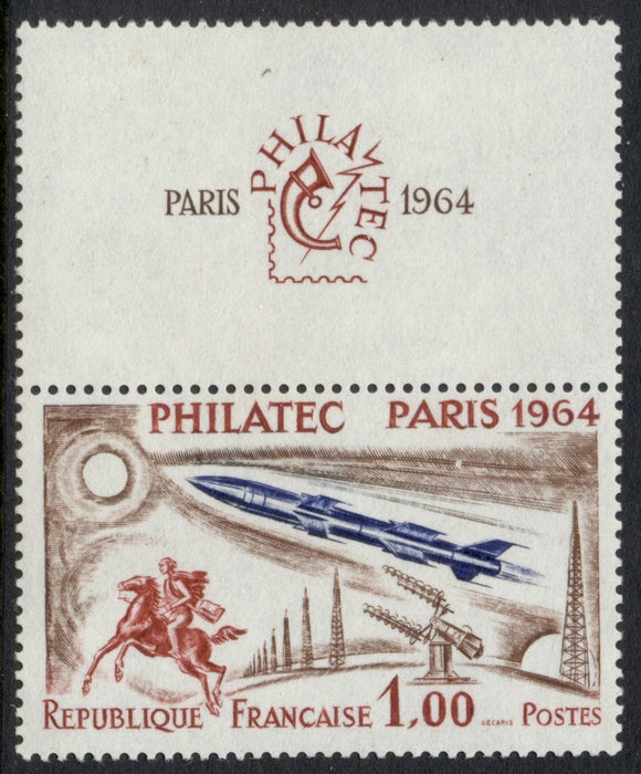 France Scott #1100 MNH With Margin LABEL Paris '64 Stamp EXPO CV$17+