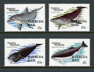 Barbuda Scott #582-585 MNH OVPT on Whales Dolphins Porpoises FAUNA CV$36+