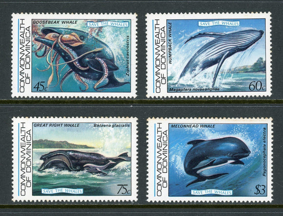 Dominica Scott #791-794 MNH Save the Whales FAUNA CV$13+