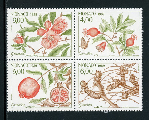 Monaco Scott #1680a-1680d MNH BLOCK Life Cycle Pomegranate Tree Flora CV$9+