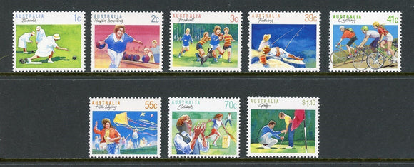 Australia Scott #1106-1112 MNH Sports Golf Cycling Fishing Bowling CV$7+