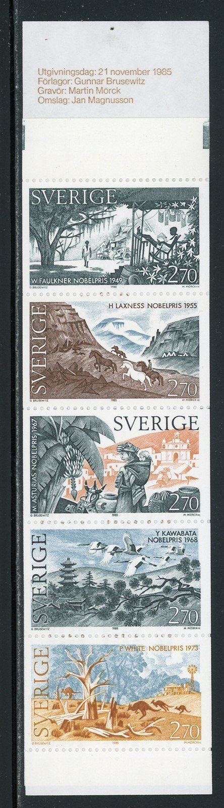 Sweden Scott #1566a MNH BOOKLET COMPLETE Nobel Laureates in Literature CV$9+
