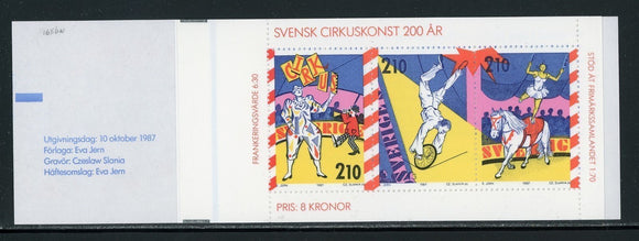 Sweden Scott #1656a MNH BOOKLET COMPLETE Circus in Sweden Bicentenary CV$13+