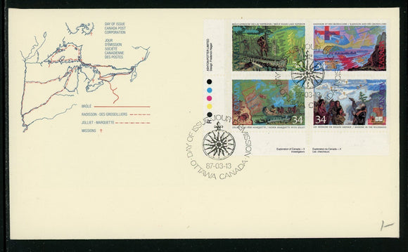 Canada Scott #1126-1129 FIRST DAY COVER Cachet Exploration of Canada $$