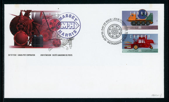 Canada Scott #1552a-b FIRST DAY COVER Cachet Historic Vehicles $$