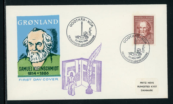 Greenland Scott #68 FIRST DAY COVER Cachet Samuel Kleinschmidt Philologist $$