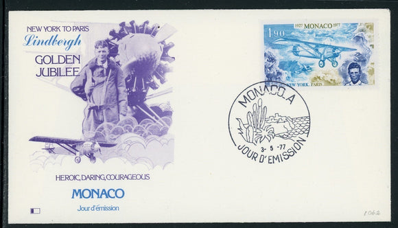 Monaco Scott #1062 FIRST DAY COVER Cachet C Lindbergh Transatlantic Flight ANN