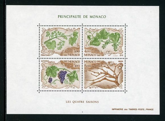 Monaco Scott #1579 MNH M/S Grape Vines FLORA CV$11+