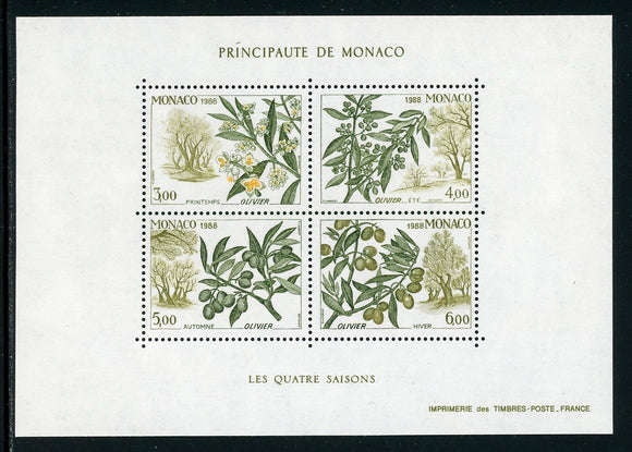 Monaco Scott #1645 MNH SHEET Life Cycle of the Olive Tree FLORA CV$12+