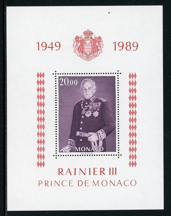 Monaco Scott #1681 MNH S/S Reign of Prince Rainier III 40th ANN CV$11+