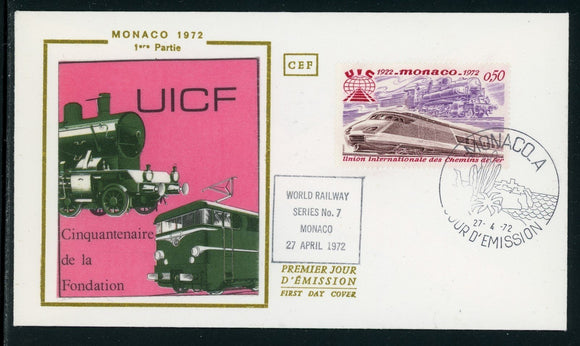 Monaco Scott #825 FIRST DAY COVER Cachet Int'l Railroad Union TRAINS $$