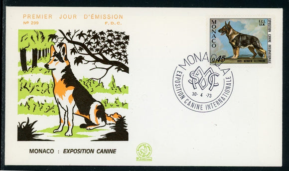 Monaco Scott #879 FIRST DAY COVER Cachet Monte Carlo Int'l Dog Show 1973 FAUNA $