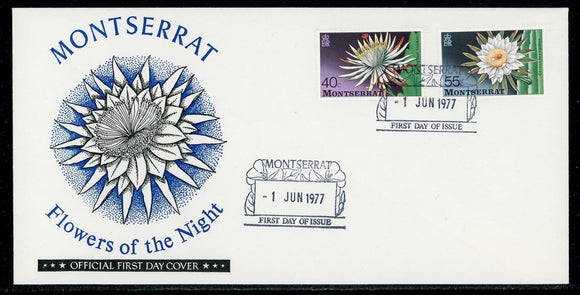 Montserrat Scott #367-368 FIRST DAY COVER Cachet Flowers of the Night FLORA $$