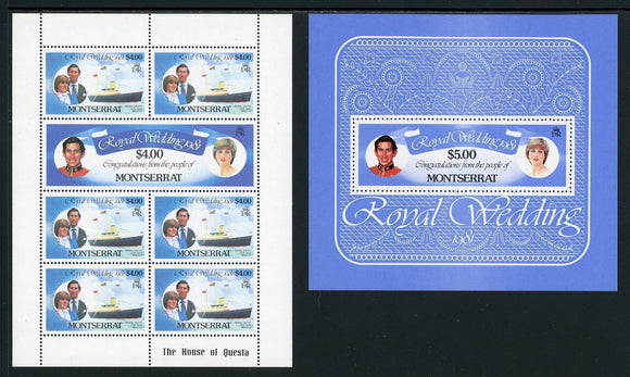 Montserrat Scott #465-471 MNH SHEETS Prince Charles Lady Diana Wedding $$