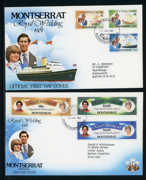 Montserrat Scott #466-469 FIRST DAY COVERS CACHET Prince Charles Diana Wedding