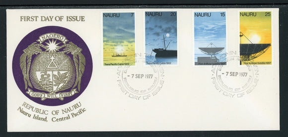 Nauru Scott #152-155 FIRST DAY COVER Cachet 1st Transpacific Cable $$