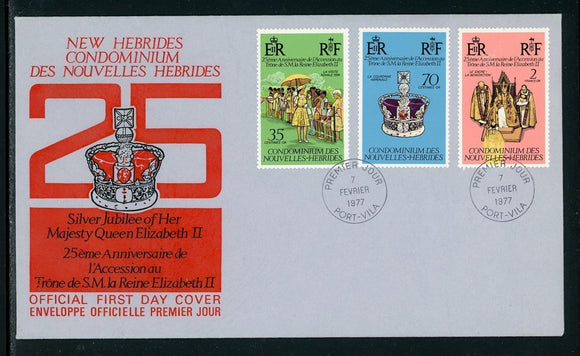 New Hebrides Scott #214-216 FIRST DAY COVER Cachet Queen Elizabeth II Jubilee $$