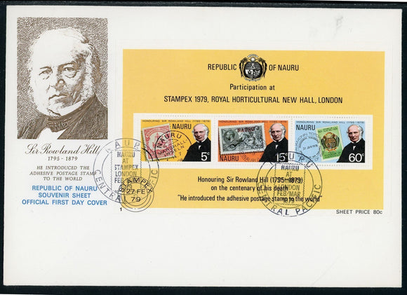Nauru Scott #197a FIRST DAY COVER Stampex 1979 Stamp EXPO Rowland Hill $$