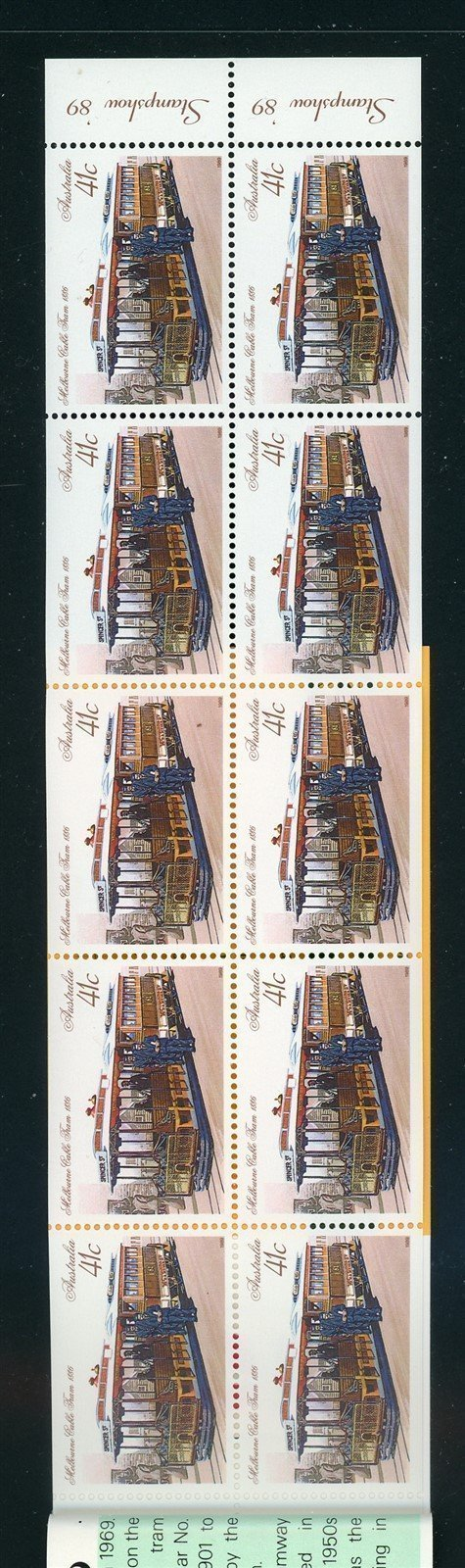 Australia Scott #1156b MNH BOOKLET Melbourne '89 Stamp EXPO TRAINS CV$25+