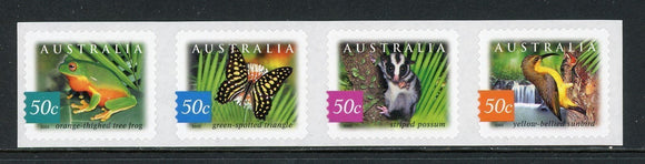 Australia Scott #2170a SA STRIP Birds Butterflies FAUNA CV$5+