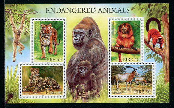 Ireland Scott #1156a MNH Endangered Animals FAUNA Tiger Gorilla Cheetah CV$6+