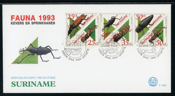 Surinam Scott #943a//947a FIRST DAY COVER Insects Beatles FAUNA $$