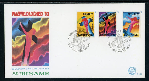 Surinam Scott #B395-B397 FIRST DAY COVER Easter 1993 $$