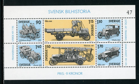 Sweden Scott #1334 MNH S/S Swedish Automobile History CARS CV$4+