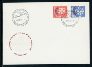 Switzerland Scott #376-377 COVER OVPT Reunion des PTT on European Unity $$