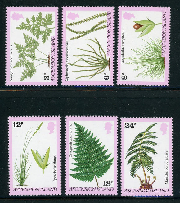 Ascension Scott #251-256 MNH Ferns and Grasses FLORA $$