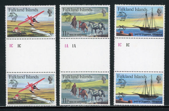 Falkland Islands Scott #295-297 MNH GUTTER PAIRS UPU Membership Centenary $$