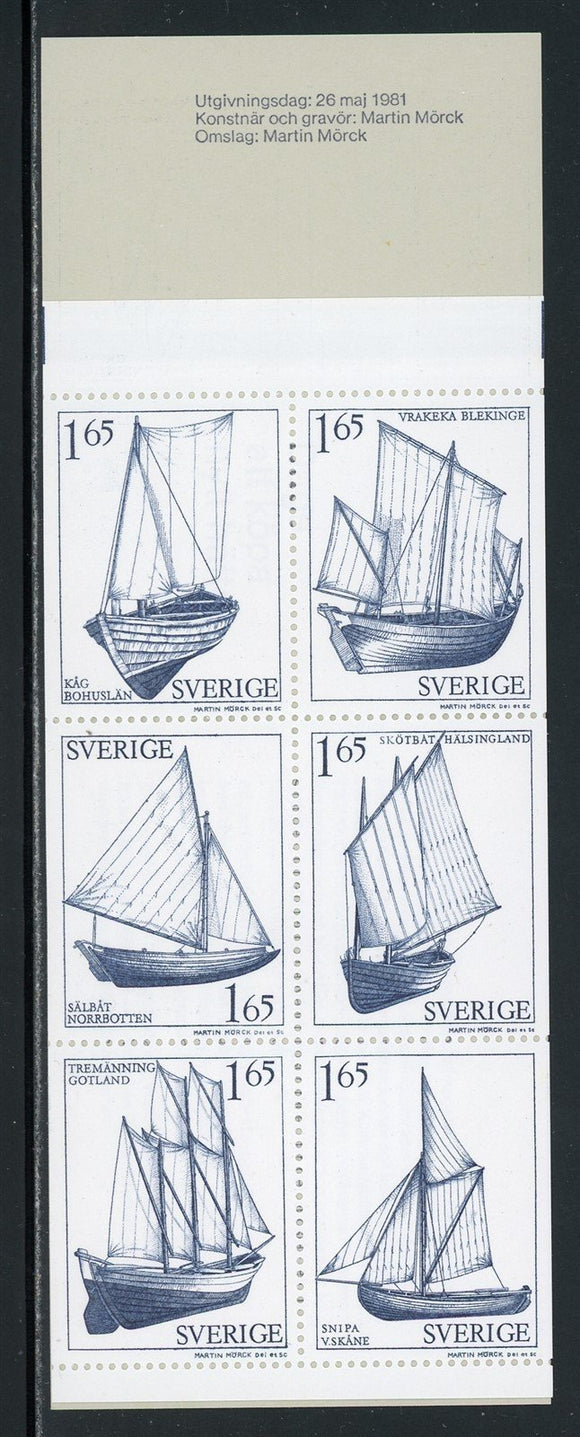 Sweden Scott #1365a MNH BOOKLET COMPLETE Sailboats and Ships CV$8+