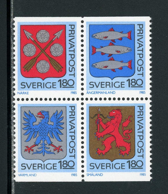 Sweden Scott #1534-1537 MNH BLOCK Provincial Arms CV$6+