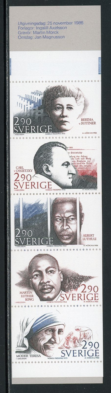 Sweden Scott #1622a MNH BOOKLET COMPLETE Peace Nobelists CV$12+