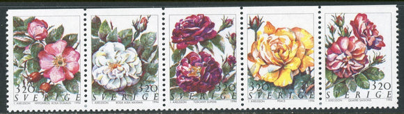 Sweden Scott #2071-2075 MNH STRIP Roses Flowers FLORA CV$5+