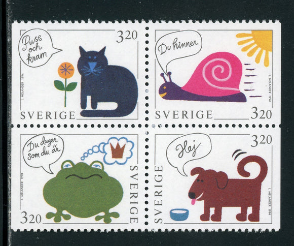 Sweden Scott #2084-2087 MNH BLOCK Greetings Cartoon Animals CV$4+