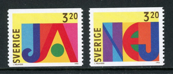 Sweden Scott #2095-2096 MNH Yes and No Stamps $$