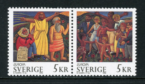 Sweden Scott #2116-2117 MNH PAIR Europa 1995 Wood Sculptures by Hjorth ART $$