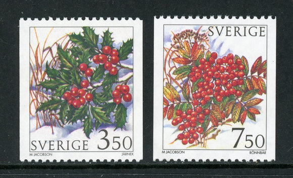 Sweden Scott #2159-2160 MNH Winter Berries FLORA CV$4+