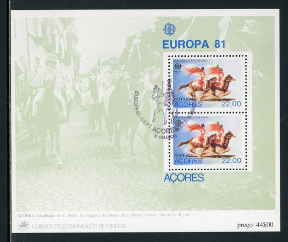 Azores Scott #322a MNH S/S Europa 81 w/First Day Cancel $$