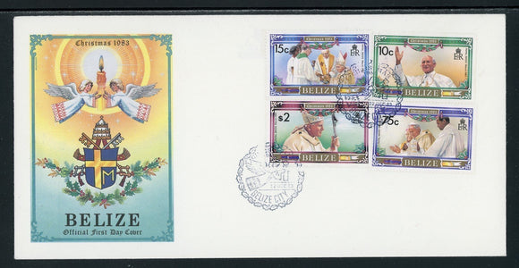 Belize Scott #694-697 FIRST DAY COVER Christmas 1983 Pope John Paul II $$