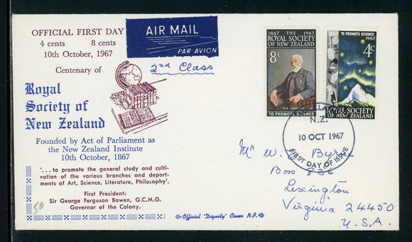 New Zealand Scott #406-407 FIRST DAY COVER Royal Society of New Zealand $$