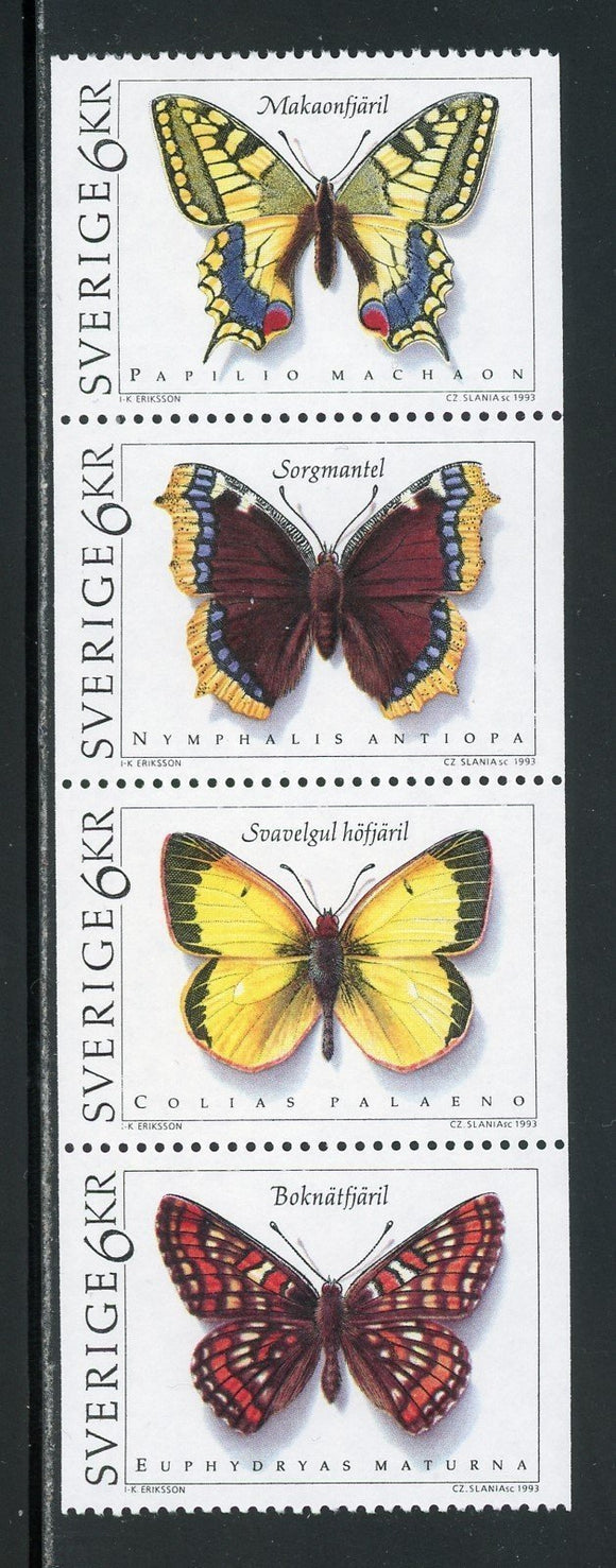 Sweden Scott #2020-2023 MNH STRIP Butterflies FAUNA CV$9+