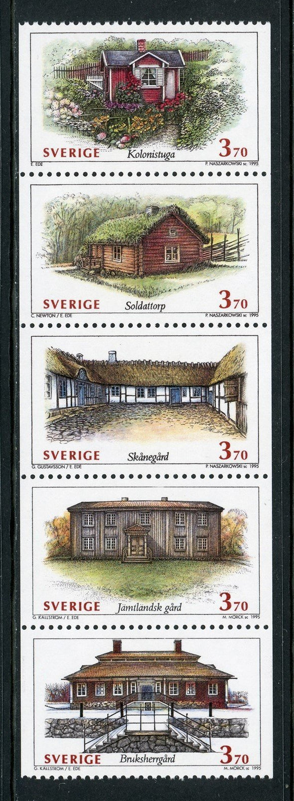 Sweden Scott #2113a MNH PANE Houses CV$10+