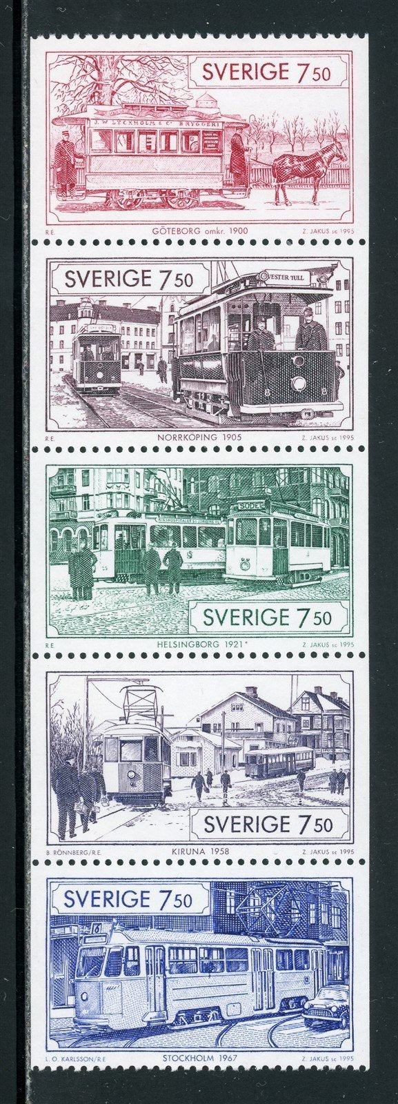 Sweden Scott #2131a MNH PANE Trams TRAINS CV$17+