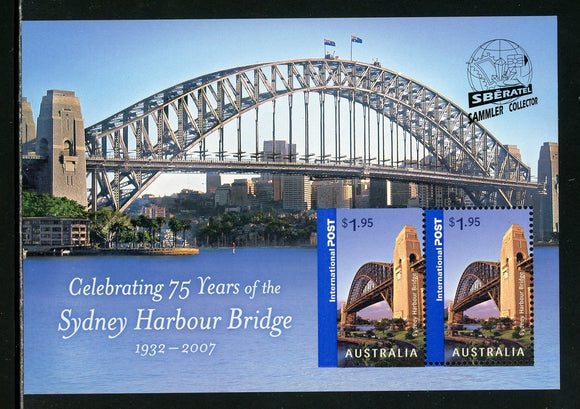 Australia Scott #2675d MNH S/S Sydney Harbour Bridge 75th OVPT Sberatel CV$9+