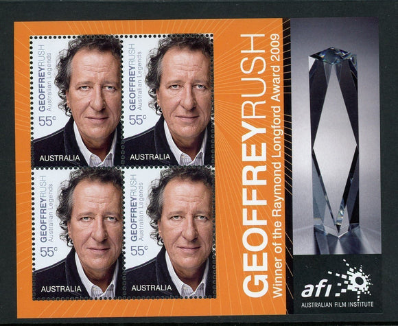 Australia Scott #3009b MNH S/S Jeffrey Rush CINEMA CV$8+