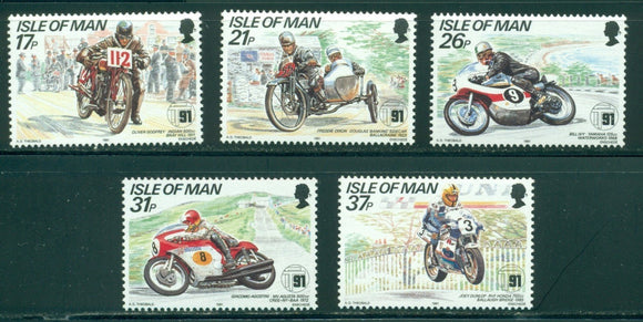 Isle of Man Scott #472-476 MNH Tourist Trophy Mountain Course Motorcycles CV$4+